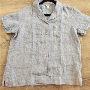 L.L Bean 100% linen button blouse
